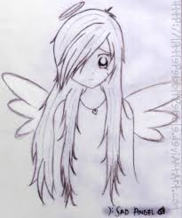 drawn sadness angel pencil and in color drawn sadness angel