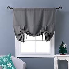 Tie Up Valance Kitchen Curtains Amazon Com Nicetown Thermal Insulated Grey Blackout Curtain Tie