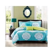 Damask Print Comforter Aqua Blue Lime Green Floral Damask Print Comforter Bedding Set