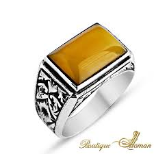 hand man rings images Stylish hand made silver man ring amber rectangle stone jewelry png