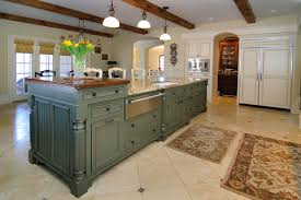 Kitchen Remodel With Island by Kitchen Island Beige Marble Top Green Distressed Wood Base