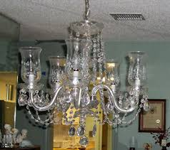 Hurricane Lamp Chandelier Etched Hurricane Shade Electric Crystal 5 Arm Chandelier Ebay