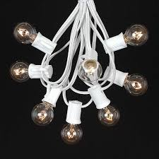 white string lights clear satin g30 globe outdoor string light set on white wire