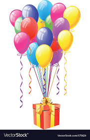balloon gift balloons with gift box royalty free vector image