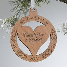 personalized ornaments engraved wood
