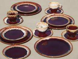 vintage brown drip pottery dishes set for four plates cups saucers