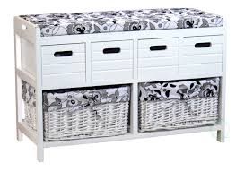 storage bench with 4 drawers and 2 wicker baskets vintiquewise