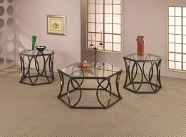 Glass Top Coffee Table With Metal Base Glass Top U0026 Bronze Tone Metal Base Modern 3pc Coffee Table Set