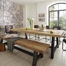 Dining Room Table Bench Distressed Wood Table Bench Metal Legs Industrial Modern