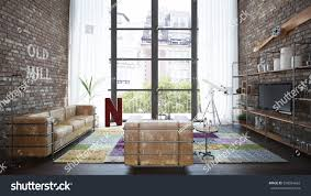 industrial style loft living room loft industrial style 3 stock illustration 598934663
