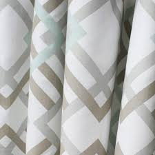 Geometric Drapery Fabric A Fresh Geometric Lattice Fabric In Soft Grey And A Soft Taupe