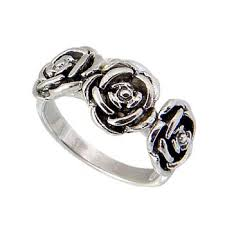 silver roses beautiful three roses sterling silver ring stardrop on artfire