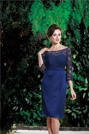 boat neck sleeves short royal blue chiffon lace mother of the