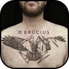bird tattoo on arm dotwork geometric flying bird tattoo on man chest
