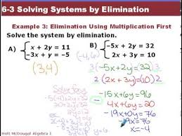 algebra 1 6 3 solving systems by elimination youtube