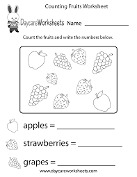Worksheets For Kindergarten Printable Free Counting Fruits Worksheet For Preschool