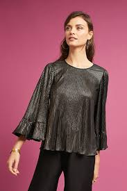 metallic blouse drew metallic ruffle sleeve blouse anthropologie