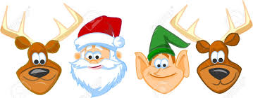 cartoon faces santa claus elf reindeer royalty free cliparts