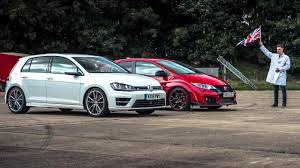 volkswagen wagon slammed top gear drag races 5 honda civic type r vs vw golf r top gear