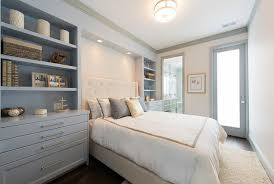 Headboards And Nightstands Gray And Ivory Bedroom With Built In Nightstands Transitional