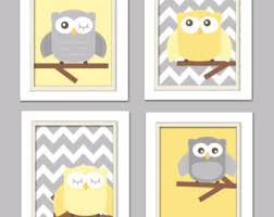 Yellow Gray Nursery Decor Yellow And Gray Nursery Nursery Owl Grey And Yellow