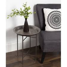 Hammered Metal Table L Hammered Metal End Table Wayfair