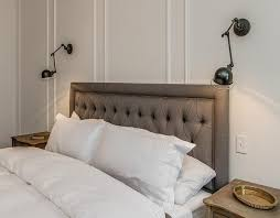 Restoration Hardware Wall Sconces Charcoal Gray Linen Headboard Bedroom