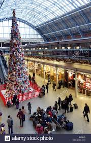 christmas tree in st pancras international railway station london
