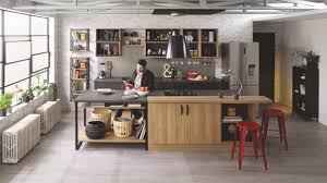 plan de travail cuisine cuisinella cuisine équipée industrielle avec îlot trend edge bois métal