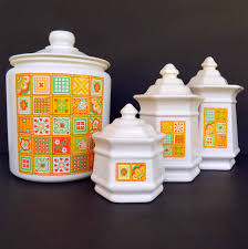100 vintage kitchen canister orange ceramic kitchen