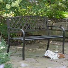 patio bench crossweave curved back 4 ft metal garden patio bench