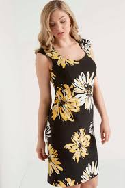 online exclusive daisy print shift dress in yellow