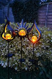 solar stake lights outdoor solar powered metal stake led garden light outdoor flame effect