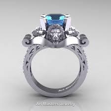 blue topaz engagement rings 14k white gold 3 0 ct asscher cut blue topaz diamond