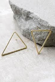 triangle earrings chic gold earrings triangle earrings post back earrings 13 00