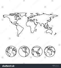 Blank Map Of The World by Gray Outline Map World Globe Icons Stock Vector 275067185