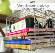 Storage Shelves With Baskets Diy Metal Basket Shelving With Old Locker Baskets