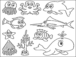underwater ocean animals coloring pages for preschool color zini