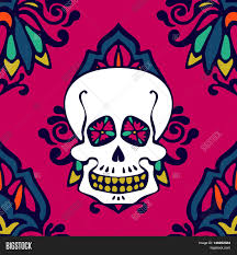 halloween background repeating shugar skull damask seamless pattern halloween background stock