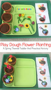 preschool spring flower planting play dough activity spring