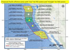 Map Of The Coast Of California Nws Offshore Marine Forecasts By Zone California