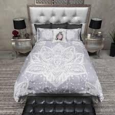 lilac grey boho lotus blossom bedding pillow cases comforter