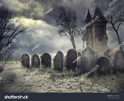 haunted house on spooky graveyard halloween stock photo 222075625