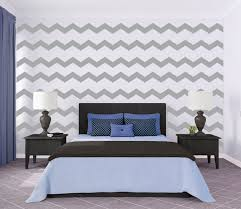 stunning image of chevron bedroom decoration using black and white