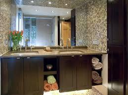 bathroom vanity tile ideas mosaic tile bathroom vanity backsplash towel storage speckled