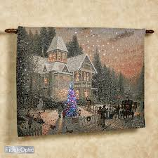 thomas kinkade lighted victorian christmas wall tapestry