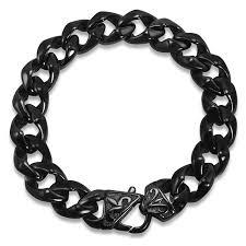 mens black steel bracelet images Mens black curb link stainless steel bracelet jewelry jpg