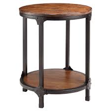 round wood accent table stein world 12356 kirstin round wood and metal end table hayneedle