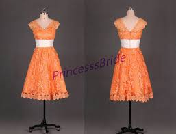 wedding dress brokat 2015 tea length orange lace bridesmaid gowns cheap simple of