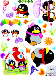 qq cute penguin diy wall sticker home decoration room decals wall
